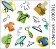 A set of vector icons of clothing and accessories in color, and black and white renderings. - stock vector
