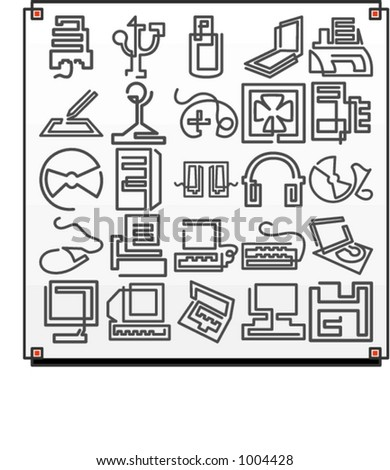 A set of 25 vector icons of computer technology objects, where each icon is drawn with a single meandering line. - stock vector