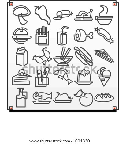 A set of 25 vector icons of food objects, where each icon is drawn with a single meandering line. - stock vector