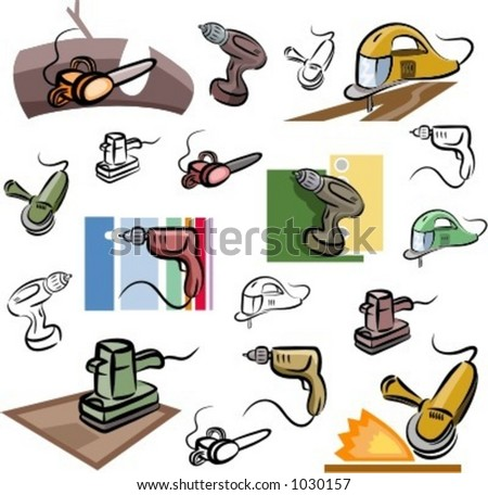 A set of vector icons of power tools in color, and black and white renderings. - stock vector