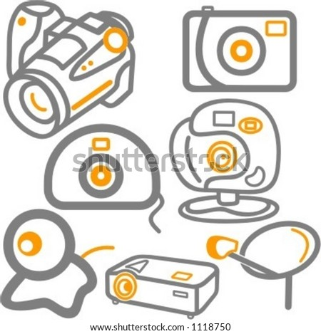 A set of 7 vector icons of web, photo and video cameras, and a satellite dish. - stock vector