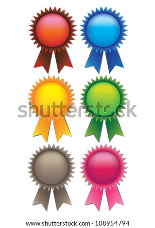 A set of 6 vector illustrate prize ribbons with spaces for text - stock vector