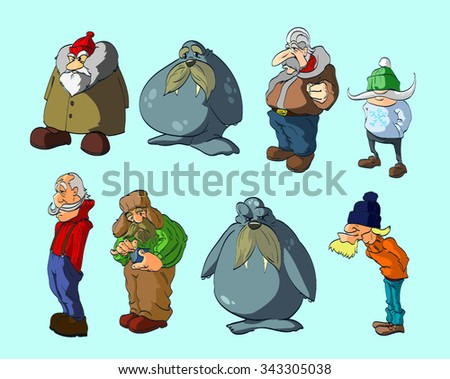 A set of vector illustration of polar/arctic characters in winter weather clothing, plus 2 walruses.