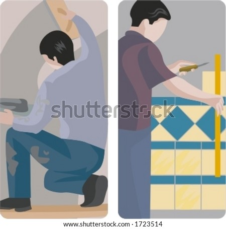 A set of 2 vector illustrations of a workers. 1) Worker making a plaster. 2) Worker installing tiles. - stock vector