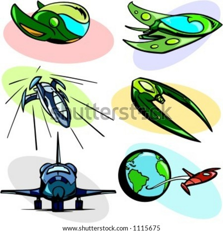 A set of 6 vector illustrations of alien spaceships and shuttles. - stock vector
