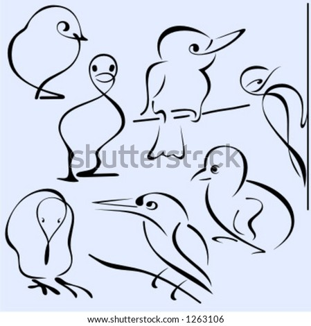 A set of 7 vector illustrations of birds in unique exquisite and ornamental style.