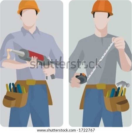 A set of 2 vector illustrations of builders. 1) Builder using a silicon pistol. 2) Builder using a tape-measure. - stock vector