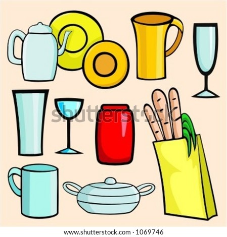 A set of 9 vector illustrations of cups, glasses, tea-pot, jar and a bag with products. - stock vector