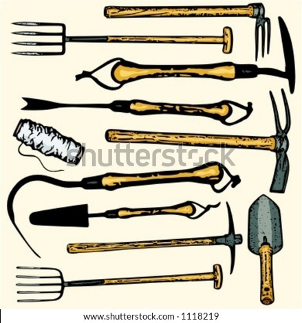 A set of 11 vector illustrations of gardening  tools. Check my portfolio for many more images. - stock vector