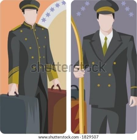 A set of 2 vector illustrations of hotel bellmen. - stock vector