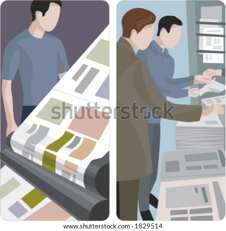 A set of 2 vector illustrations of news papers printing and selling. - stock vector