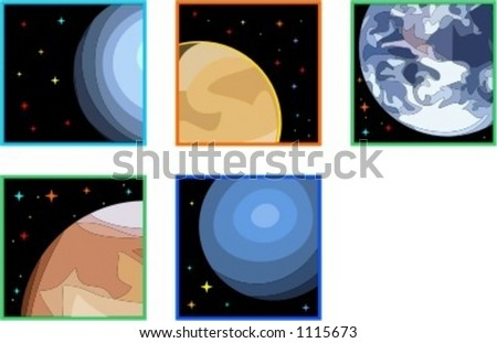 A set of 5 vector illustrations of planets. - stock vector
