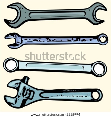A set of 4 vector illustrations of spanners and wrenches. - stock vector