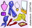 A set of 9 vector illustrations of women's fashion accessories, cosmetics and jewelry. - stock vector