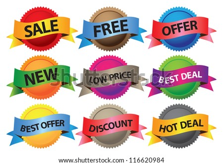 A set of vector labels with business selling messages.