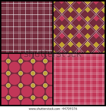 A set of 4 vector patterns - stock vector