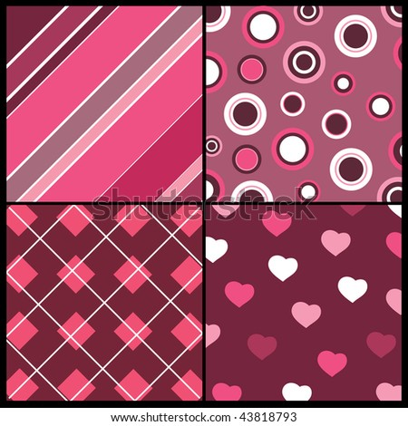 A set of 4 vector patterns for Valentines day - stock vector