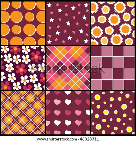 A set of 9 vector patterns for Valentines day - stock vector