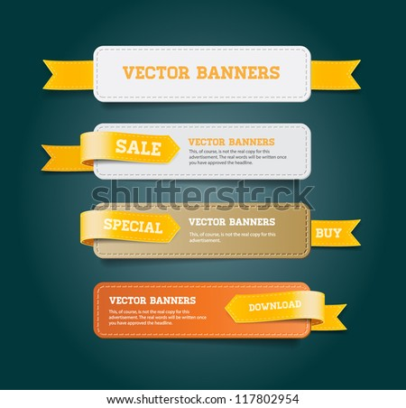 A set of vector promo banners decorated with yellow ribbon tags