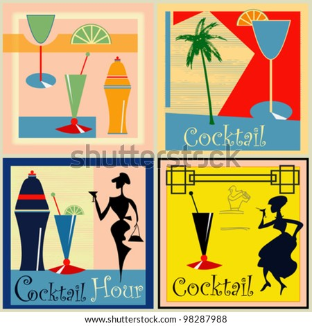 A set of vector Retro Cocktail labels/backgrounds for a 1950's style bar - stock vector