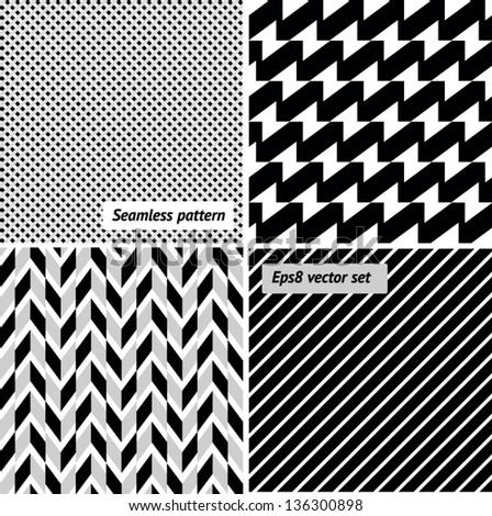 A set of vector seamless retro patterns.EPS8 - stock vector