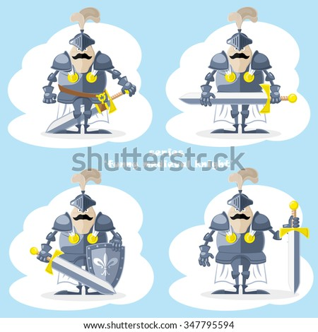 A set of vector shapes funny medieval knight in white cloak isolated on white background - stock vector
