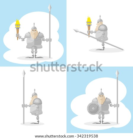 A set of vector shapes funny toy medieval knight with a spear and a torch in the hands isolated on white background - stock vector
