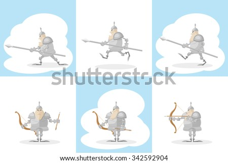 A set of vector shapes funny toy medieval knight with a spear in the hands and archer with arrow  isolated on white background - stock vector