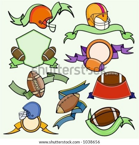 A set of 9 vector sport templates of american football.Ready-to-cut.Pantone colors. - stock vector