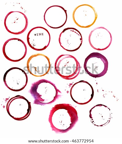 A set of vector stains from glasses of white and red wine, abstract design elements