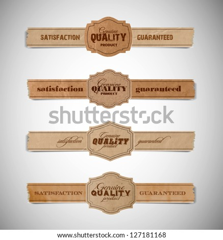 A set of vector vintage old torn paper and cardboard labels - genuine quality product satisfaction guaranteed - stock vector