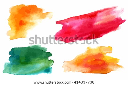A set of vector watercolour design elements (yellow, red and green abstract stains) - stock vector