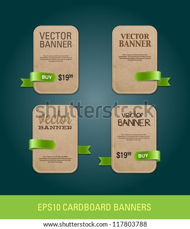 A set of vertical vector cardboard paper promo banners decorated with green ribbon tags - stock vector