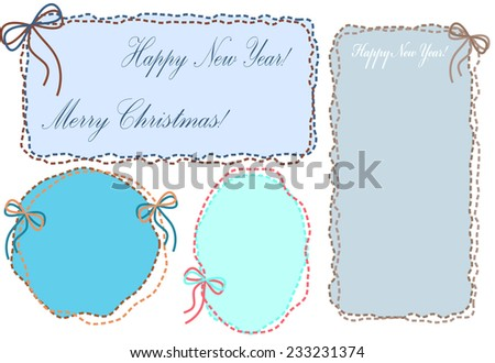 A set of vintage blue embroidered frames of threads with bows for congratulations with happy New Year and Merry Christmas! - stock vector