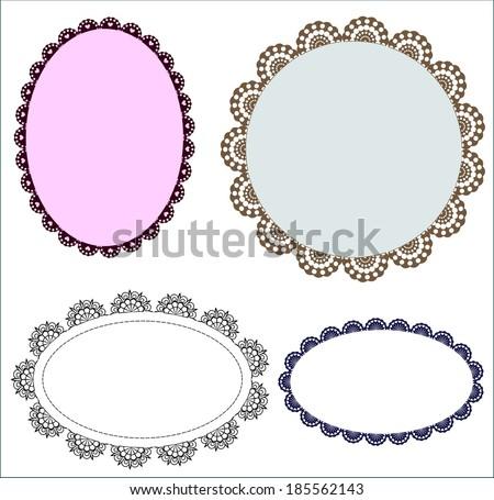 Set Vintage Oval Patterned Lace Frames Stock Vector 185562143 ...