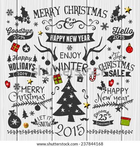 A set of vintage style Christmas and New year elements on white wooden background. Typographic designs, hand-drawn labels, tags and embellishments. - stock vector