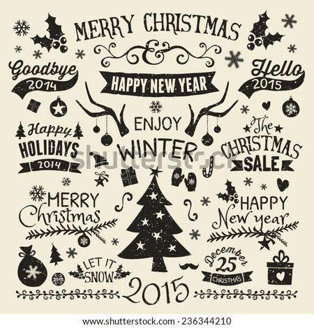 A set of vintage style Christmas and New year elements. Typographic designs, hand-drawn labels, tags and embellishments. - stock vector