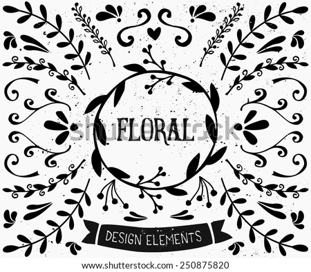A set of vintage style floral design elements in black and white. Hand drawn decorative elements and embellishments. Borders, laurels, swirls, wreaths and other retro style graphics. - stock vector