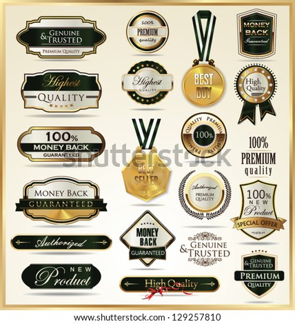 A set of vintage style gold and green labels - stock vector