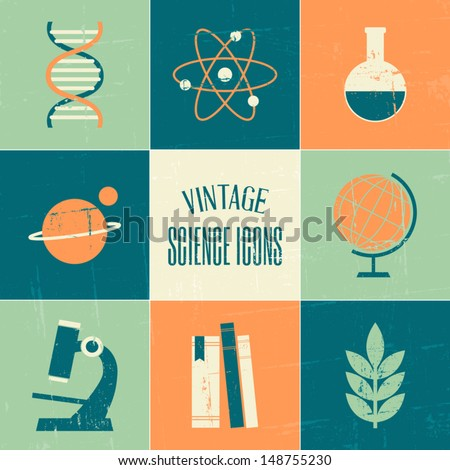 A set of vintage style science and education symbols. - stock vector