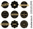 A set of vintage style stickers in black and golden isolated on white. - stock vector