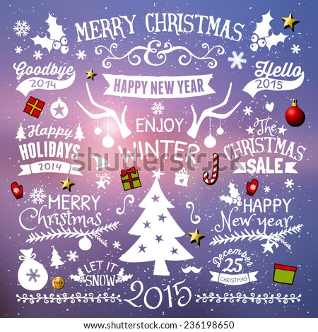A set of vintage style typographic Christmas and New Year elements, labels, tags and icons. EPS10 file, gradient mesh and transparency effects used. - stock vector