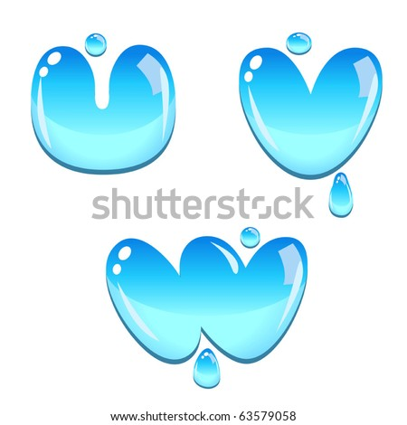A set of water bead font type, letter U to W - stock vector