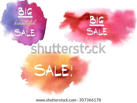 A set of watercolour backgrounds with the words 'Sale' and 'Big Sale' written in handwriting, scalable vector graphic - stock vector