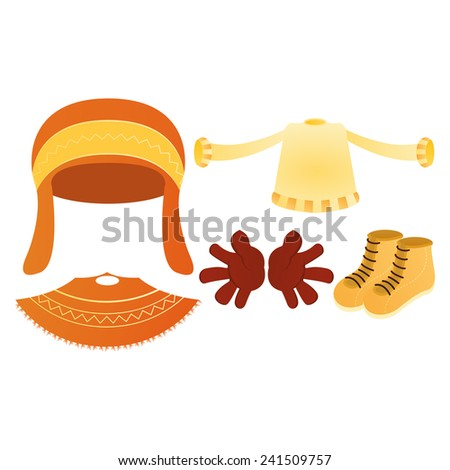 a set of winter clothes on a white background