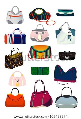 A set of women's handbags, vector illustration - stock vector