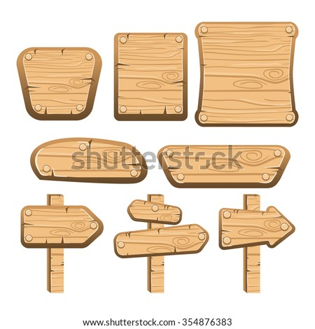 A set of wooden boards, panels and signs. Interface game illustration.