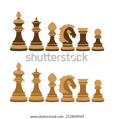 A set of wooden chess on white background - stock vector