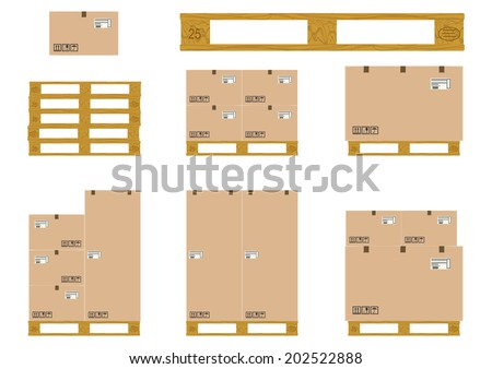 A set of wooden pallet with cardboard boxes on a white background. Vector  - stock vector