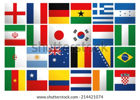 a set of world flags on a white background - stock vector